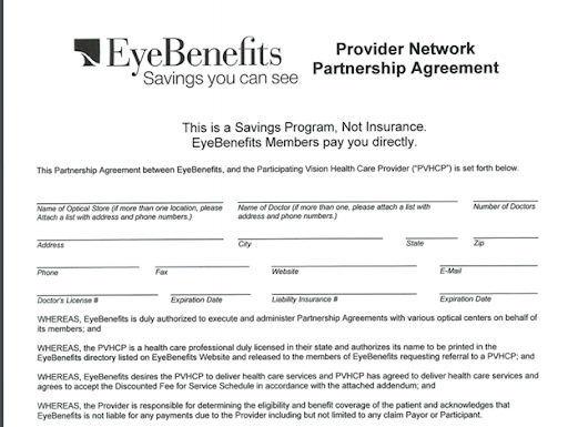 EyeBenefits Agreement