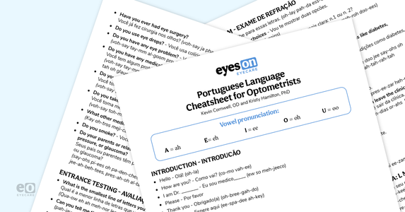 Downloadable Portuguese Language Cheatsheet for Optometrists